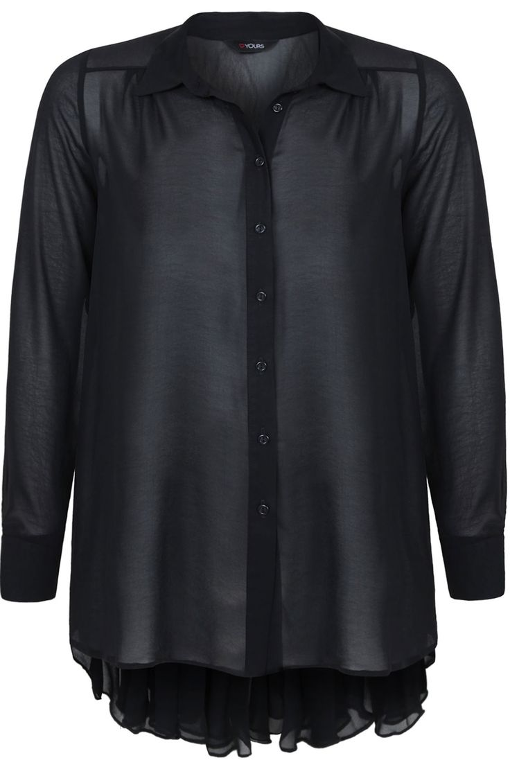 Black Chiffon Blouse With Sunray Pleat Back And Dipped Hem plus size 16,18,20,22,24,26,28,30,32