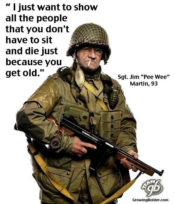 """Seventy years ago, Jim """"Pee Wee"""" Martin parachuted into France, behind German enemy lines, in the dark of night ahead of the D-Day invasion. On June 6, 2014, at 93, the WWII veteran jumped into Normandy again, in a full military kit, marking the anniversary of the June 6th Allied troops landing. Before jumping he said, """"They are worried about me getting hurt. I said, 'Don't worry about it. If I get hurt or I get killed, what is the difference? I've lived 93 years. I've had a good life.> TC?"""