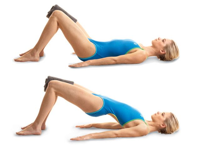 bridge raises with a towel between the knees are a fantastic way to tone the inner thighs and help when trying to get a gap between the thighs.