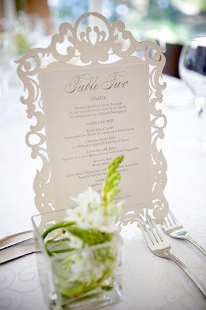 Laser cut frame table menu by http://www.secretdiary.co.za