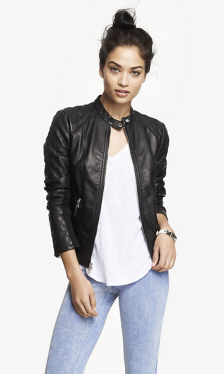 (MINUS THE) LEATHER QUILTED SLEEVE JACKET | Express. Mine is gray. It is fitted and wonderful!! Update, I also got this exact one...