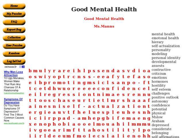 Good Mental Health Word Search Worksheet
