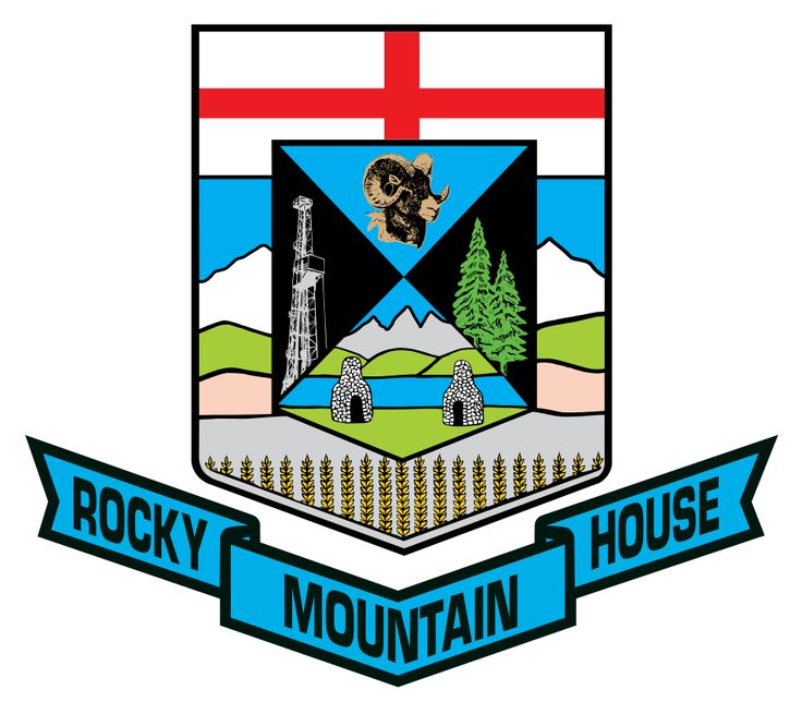 Coat of Arms of Rocky Mountain House, Alberta. Canada.