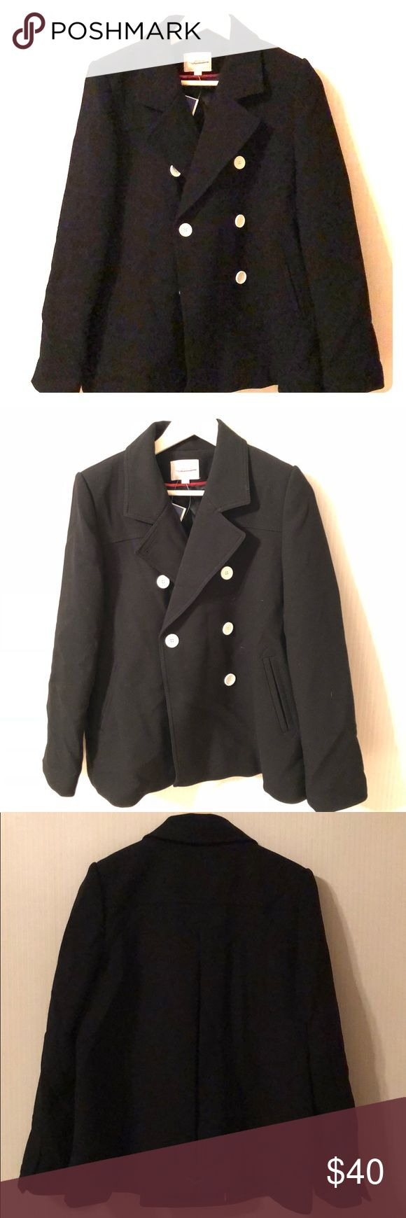 Ann Taylor Loft Black Pea Coat size Medium Adorable Anne Taylor Loft Black Peacoat! Size Medium. Hidden buttons on adjustable sleeves shown in last pic.  Comes with two extra buttons. Make an offer! LOFT Jackets & Coats Pea Coats