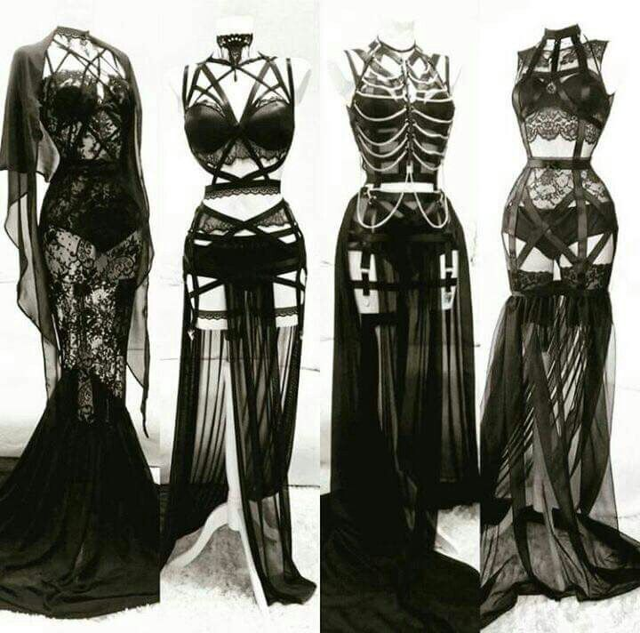 Gothic inspired sultry garments with just the right dose of lingerie. We're talking harnesses, straps, garter belts, and of a bit of woven textile like lace and mesh.