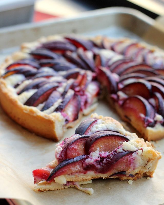 In season in September - plums. In honour of pastry week on #GBBO, here's a tasty plum and almond cream tart to tantalise your taste buds #food #recipe