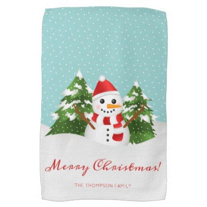 Smiling Snowman Cartoon Custom Name Christmas Hand Towel - winter gifts style special unique gift ideas