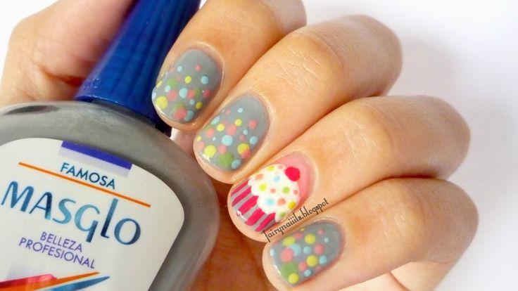 #Cupcake #NailArt #Masglo #RetoABC #Puntos #Gris #Pastel