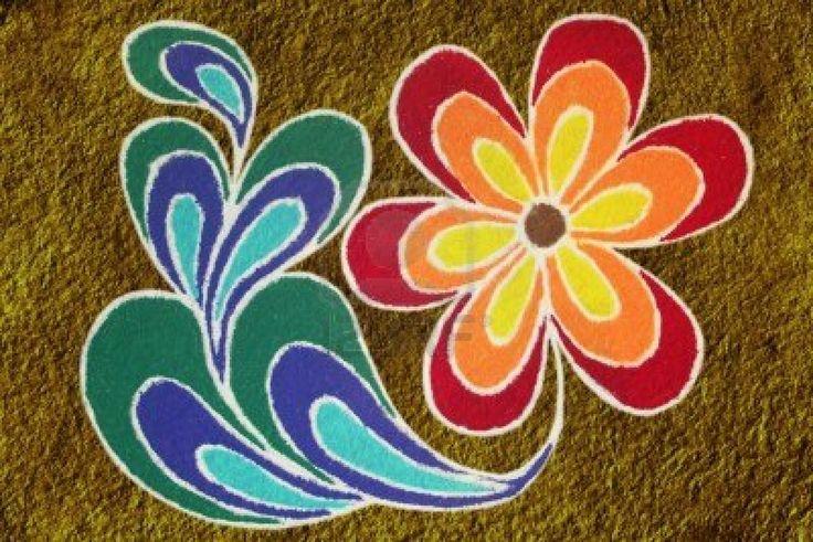 Simple Peacock Feather Rangoli Designs