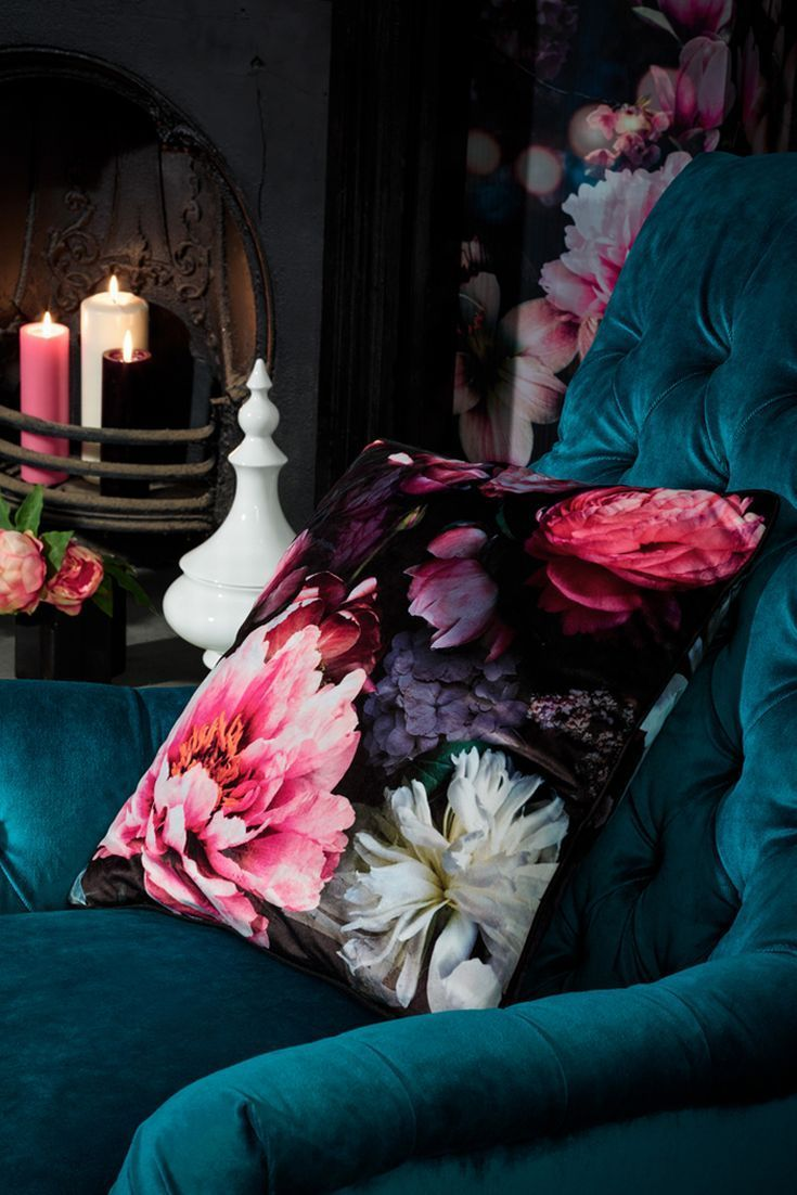 A stunning bold floral design square cushion, with a velvet feel.