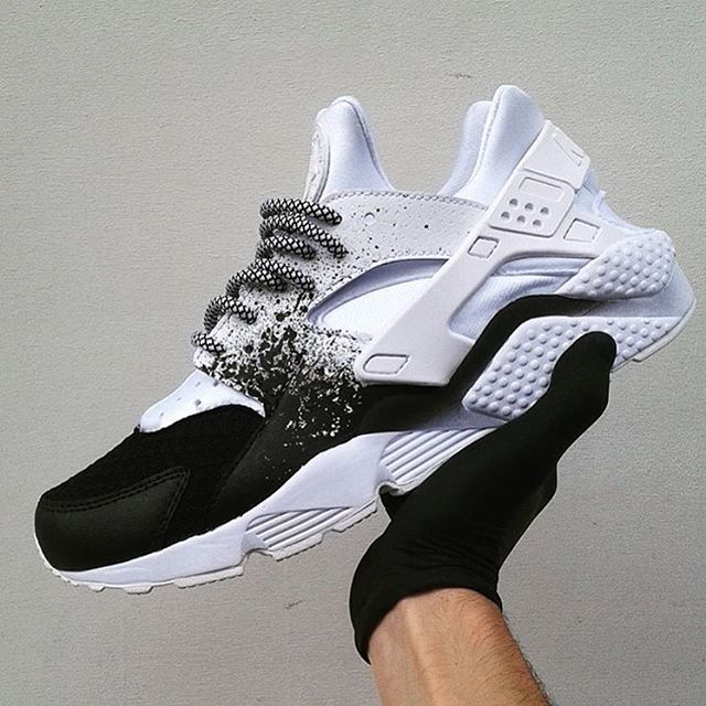 black and white huaraches mens