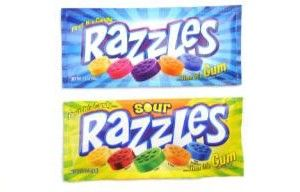 A bulk box of 24 packs of Razzles Sour.  Launched in 1966 this unique confection starts off as chewy candy then turns into chewing gum!