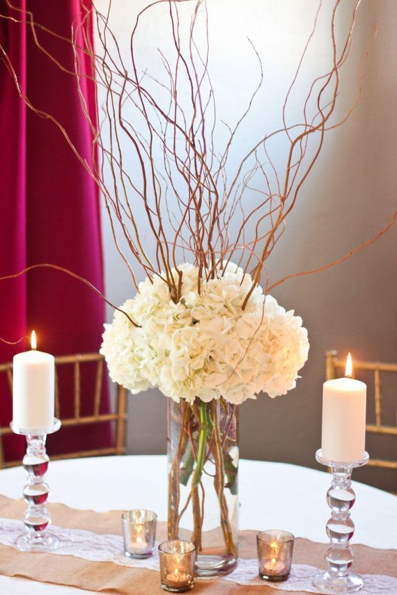 Curly willow and hydrangea centerpiece diy wedding