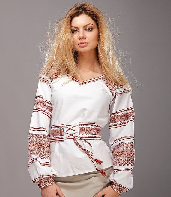 Embroidered peasant blouse (vyshyvanka) clothing, eco, floral, for women, blouses, white