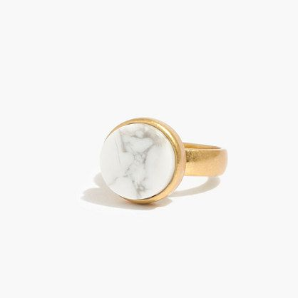 A bold howlite ring in a simple setting. Each semiprecious stone is hand-selected by our designers, so no two are exactly alike.  <ul><li>Brass, semiprecious stone.</li><li>Care instructions: Clean your jewelry after each wearing with a soft cloth.</li><li>Import.</li></ul>