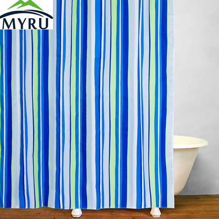 Click To Buy Myru Bathroom Waterproof Polyester Shower Curtain Blue Striped Shower