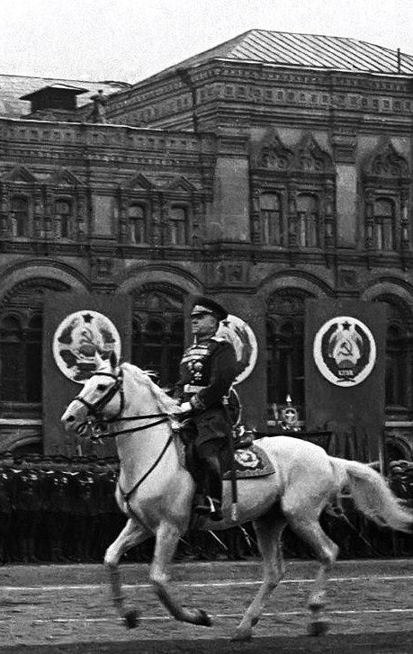 Marshal Georgy Zhukov at the Victory Parade on the Red Square in Moscow, Russia, 24 June 1945.
