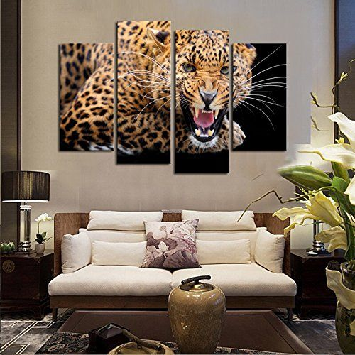 large leopard print wall art painting