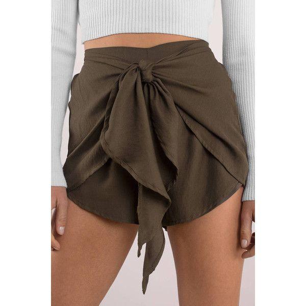 Tobi It's A Wrap Shorts (475 SEK) ❤ liked on Polyvore featuring shorts, olive, olive shorts, olive green shorts, wrap shorts and army green shorts