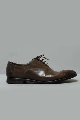 Washed leather Derby Dorian from Alberto Fasciani. Color Brown moss.