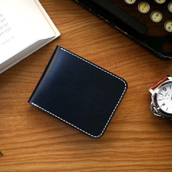 Handmade leather Half wallet Men's wallet Money by VincentHands