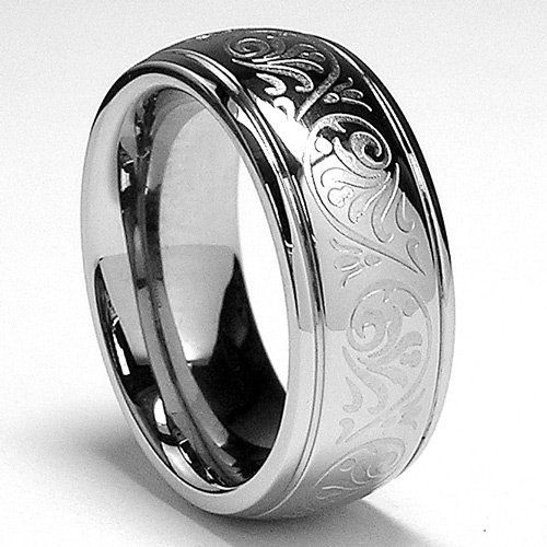 7MM Stainless Steel Ring With Engraved Florentine Design. Amazon $15.45