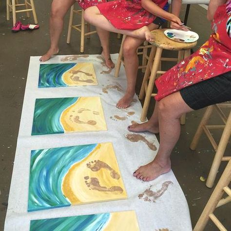 I found this awesome pin on Pinterest! It looks like an art studio painted white canvases and made a beachtheme, painting beautiful water and sand. The kids painted their feet with brown paint and stamped it in the sand…how cool for a summer keepsake! I can just imagine younger kids doing it and having baby …