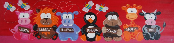 Groot kinderschilderij leuk voor de baby- kinderkamer. En nog leerzaam ook! Gemaakt door: Stephanie Fiseler