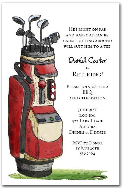 Red Golf Bag Party Invitations for golf outing, retirement party or birthday party invitations | Come see our entire invitation collection at Announcingit.com