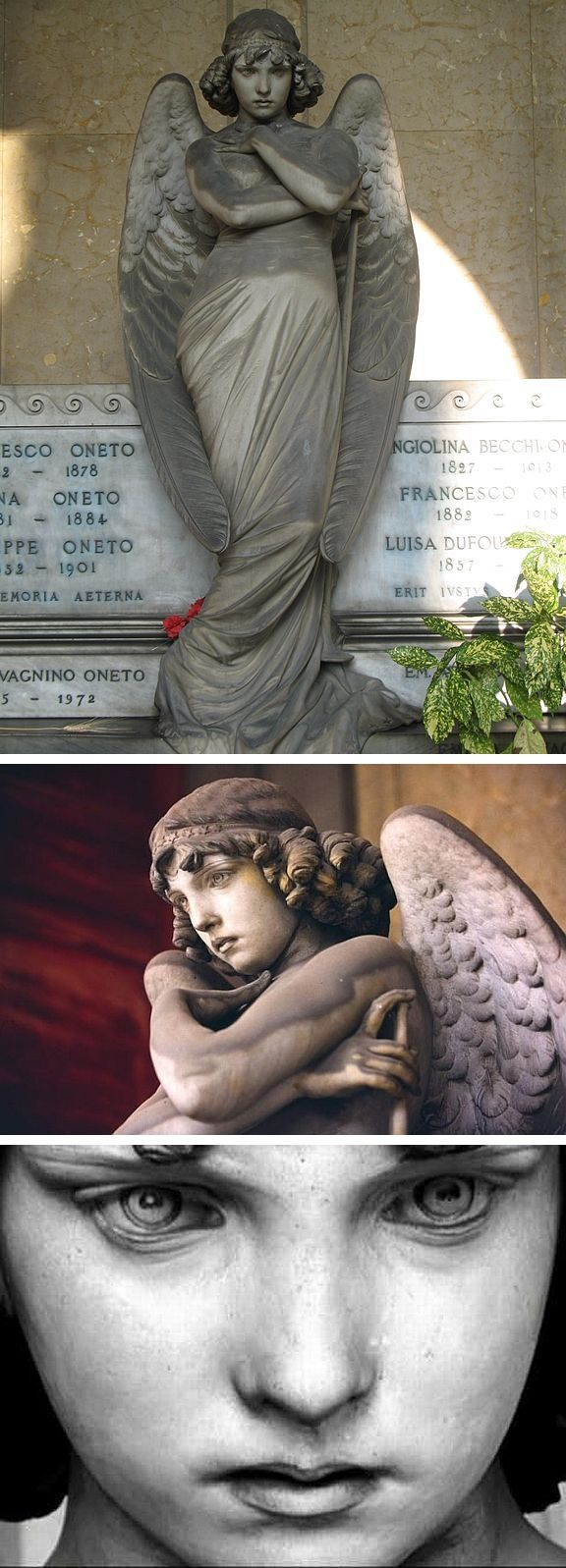 Angel of the Resurrection ~ marble statue before the tomb of the Oneto family, sculpted by Giulio Monteverde, c.1882. Sometimes called the Monteverde angel. Cimitero monumentale di Staglieno, Genoa, Italy #cemetery #monument