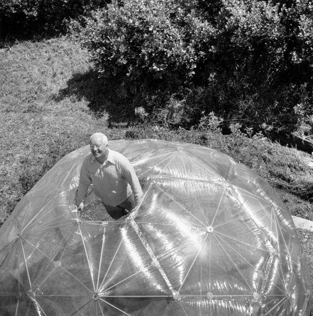 Hazel Larsen Archer, 'Buckminster Fuller inside His Geodesic Dome,' 1949, ICA Boston