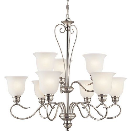 Kichler 29.75 Inch Tanglewood 9 Light Chandelier Satin Etched 100W – Brushed Nickel 42907NI
