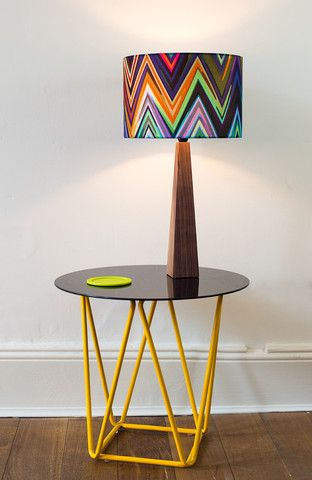 Zig Zag Small lamp shade & walnut wood base