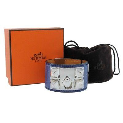 Hermes Collier de Chien Crocodile Brighton SHW Bracelet in Box