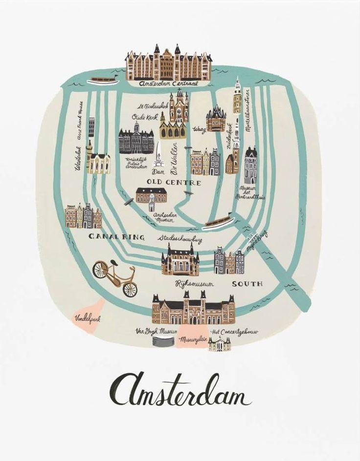 Retrouvez cette Affiche Amsterdam Rifle Paper sur la boutique en ligne d'idées cadeaux déco et papeterie, Lili's.