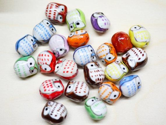 Owl Beads...Owls Beads, Heart Owls