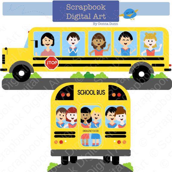 School Bus Clipart School Clip Art by ScrapbookDigitalArt on Etsy