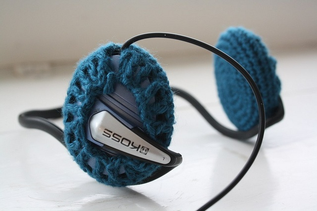 Replace the shabby foam covers on your headphones: crochet a cover like Zween. Scroll down the post to read how she did it.
