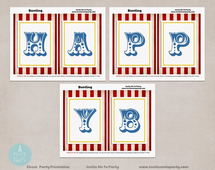 Carnival Party Decorations Printables Happy Birthday Bunting Invite Me To Party: Carnival Party | Circus Party