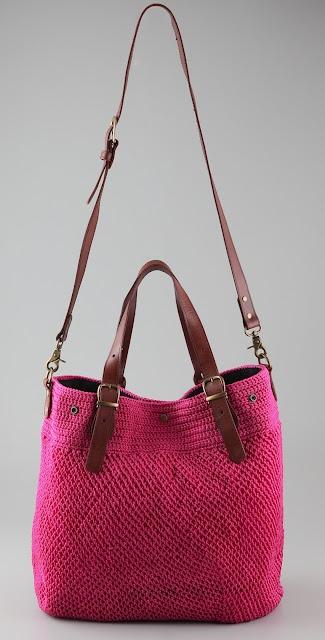 crochet + leather bag