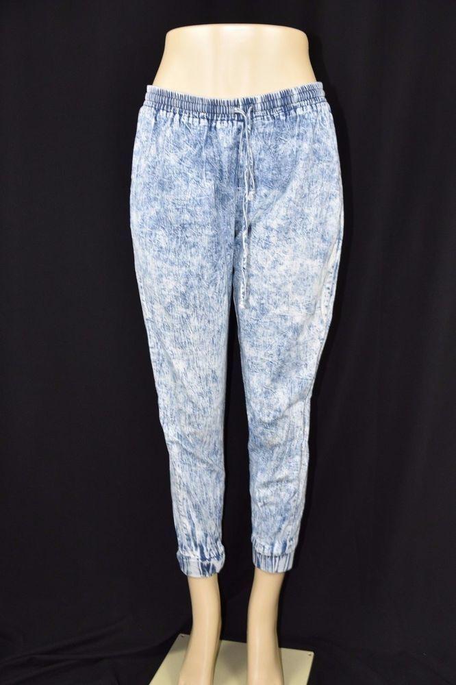 Sparkle & Fade Womens Medium Acid Wash Blue Jean Jogger Cropped Pants Stretch #SparkleFade #Jogger