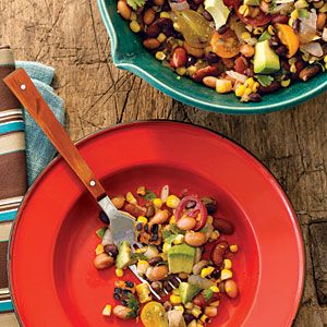 Pinto, Black, and Red Bean Salad with Grilled Corn and Avocado (from Cooking Light)  DELICIOUS!  I have made this for multiple BBQ parties with friends.  Always a winner!