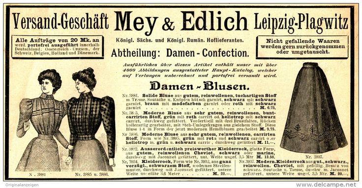 Original-Werbung/ Anzeige 1898 - DAMEN - BLUSEN  / MEY & EDLICH…