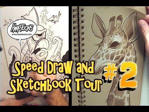 Speed Drawing and Sketchbook Tour #2 - Harptoons