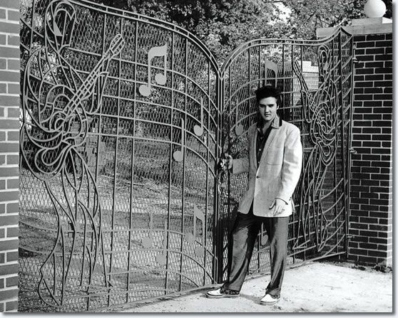 When Elvis Presley purchased Graceland in 1957, the music gates were not a part of the property. Designed for Elvis by Abe Saucer and custom by John Dillars, Jr., of Memphis Doors, Inc., the custom music gates were delivered and installed on April 22, 1957.