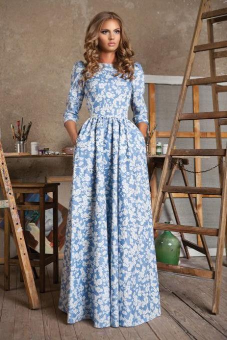 Scoop 3/4 Sleeves A-line Long High-waist Print Floral Dress