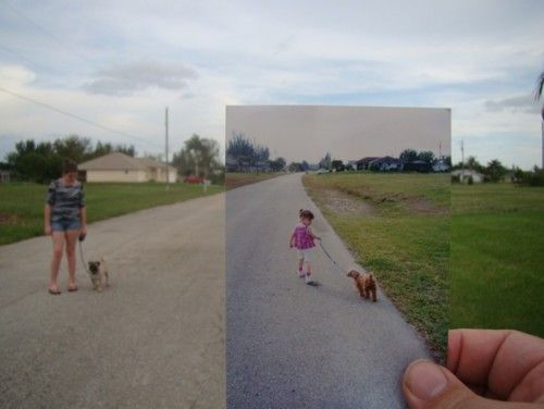 Dear Photograph - Take a picture of a picture from the past in the present.