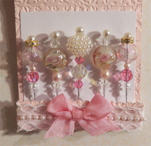 5 stick pins in a paper matchbook holder. These pins are for decorating cards, scrapbook pages, albums, pretty packages.  $9.99