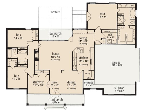 First Floor Plan of House Plan 56342