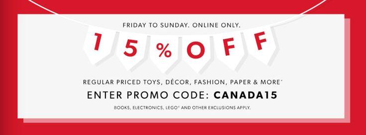 Indigo Chapters Canada Weekend Online Promo Code Deal: Save 15% Off Select Regular Priced Items June 30  July 2 http://www.lavahotdeals.com/ca/cheap/indigo-chapters-canada-weekend-online-promo-code-deal/218344?utm_source=pinterest&utm_medium=rss&utm_campaign=at_lavahotdeals
